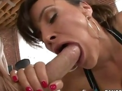 Perfect ass woman Lisa Ann swallows enormous dick