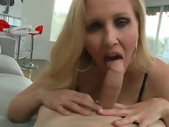 Big titted blonde milf Julia Ann knows how to suck a wang in the POV scenes