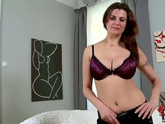 The buxom goddess comes in for her casting and wows us with her goody package. Just as admirable as a cup of coffee for our cocks first thing in the morning!