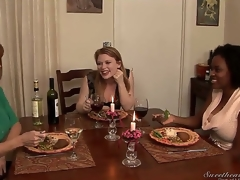 Madison Young is having dinner with Alia Starr and Darla Crane, and they swap embarrassing stories that get hotter and hotter and include some kinky public lesbian sex...