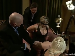 Mark Davis and Steve Holmes organize a party with their hot wives Sara Jay and Kait Snow, who are blindfolded, bound and dominated by these perverted men who double permeate them!