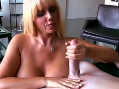 Busty blonde playgirl Karen Fisher looks amazing! Now she becomes nude previous to man, plays with his lengthy shlong by tender hands and feels how the tool enters her snatch.