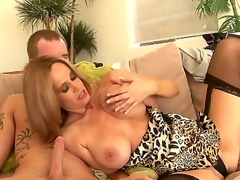 Attractive seductive hawt ass blonde milf Totally Tabitha with large stunning knockers in arousing lingerie receives her shaved minge licked and gives nice blowjob to younger horny stud