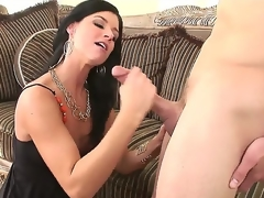 Nice-looking and arousing black haired milf India Summer meets turned on guy Scott Stone and enjoys in hot and passionate sex session with lots of licking and ramming on couch