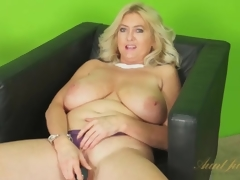 Giant natural tits mature vibrates cookie