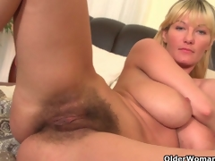 Soccer moms with big tits and unshaved bawdy cleft masturbate