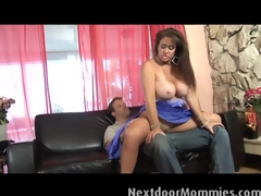 Chubby MILF gets screwed on the couch