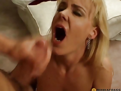 Woman takes a large shlong in her throat