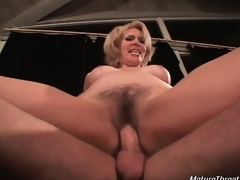 Horny mature floozy with glamorous face is so wicked with this