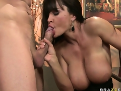 Naughty brunette MILF is eager to smack his creamy treat after her dinner fuck
