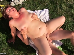 Fat grandma gets her cunt destroyed outdoors by a hard young dick
