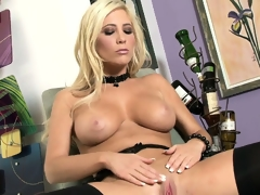 Now that's a blonde worth watching as she strips and shows her slit