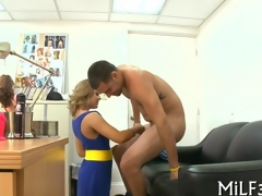 Blonde MILF sucks off a fake agent