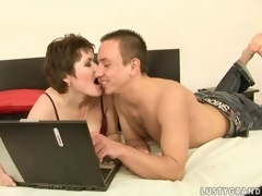 Sexy mature woman and a piping hot dude making love