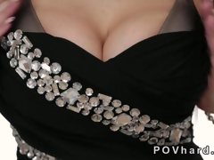 Hot blonde with huge breast gives a blowjob POV
