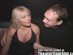Milf Jackie Gangbanged in Along to Porno Theater