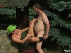 Horny old man fucking this mature cunt in dramatize expunge woods