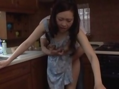 Japanese MILF banged on the kitchenette bar-room