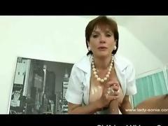 British Milf Nurse Handjob